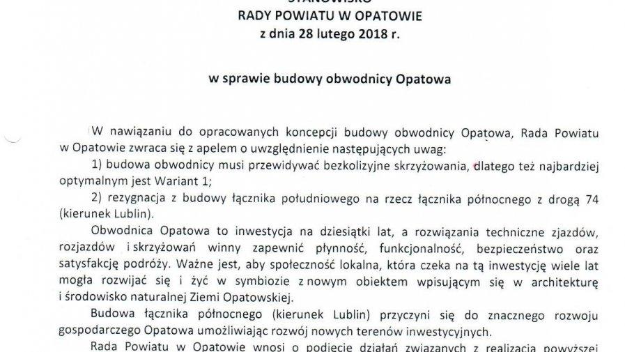 Stanowisko Rady Powiatu Opatowskiego w sprawie obwodnicy Opatowa