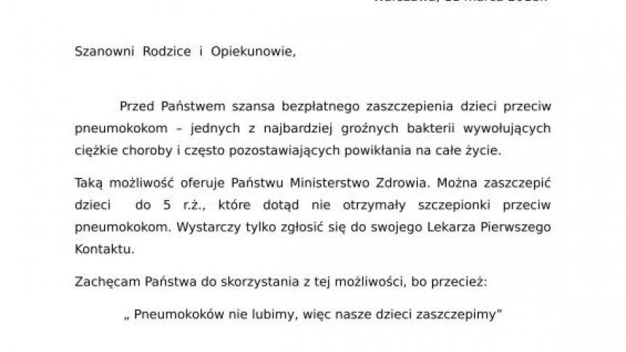 Informacja o bezpłatnym szczepieniu przeciwko Pneumokokom